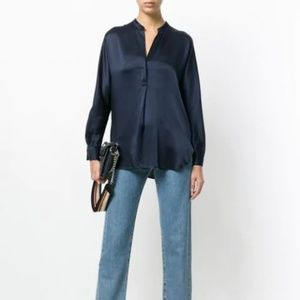 Vince Silk Band Collar Blouse in Blue XS